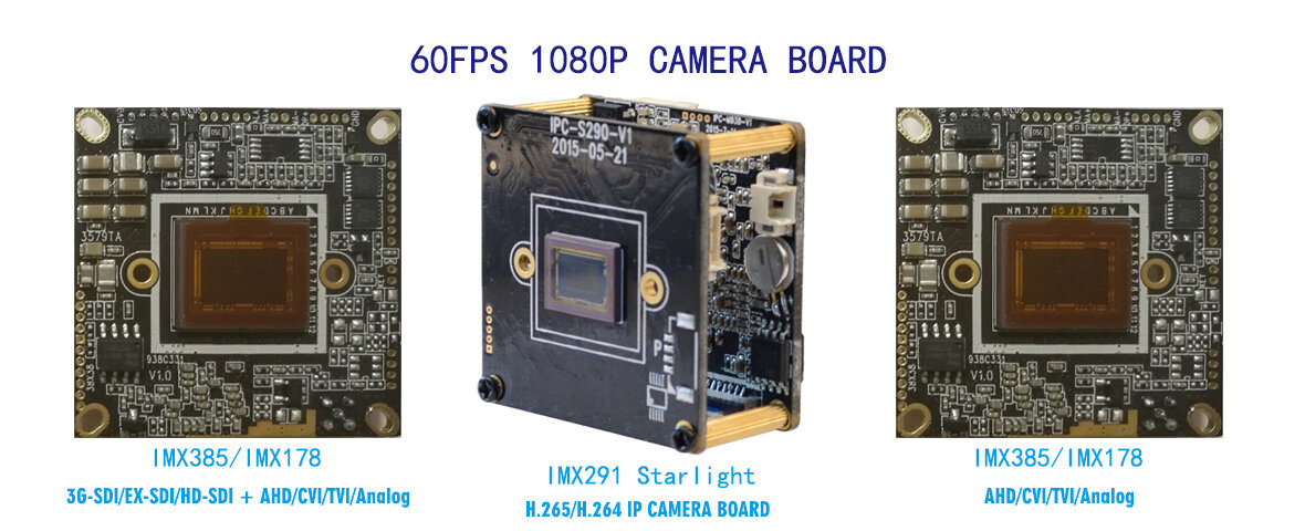 60FPS 1080P CAMERA BOARD Sony IMX385 IMX185 IMX291 Starlight AHD CVI TVI CVBS Analog IP camera module