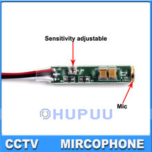 Audio pick up CCTV Microphone mini Mic Adjustable sensitivity low noise for CCTV Camera system