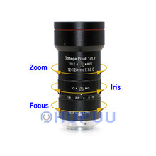 "LF12120-C-3MP 1/1.8"" 3MP 12-120mm F1.8 C Mount Manual Zoom Lens"