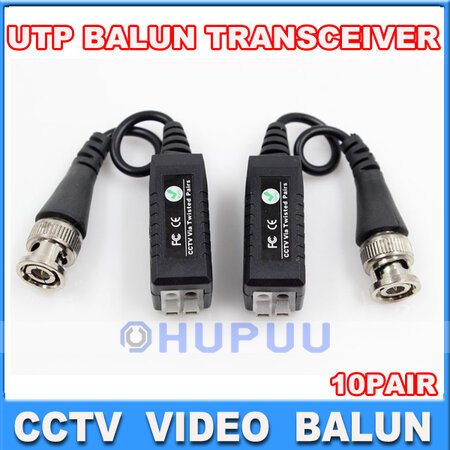 10 Pairs LS CCTV Camera Passive Video Balun BNC Twisted Pair Connector Cable
